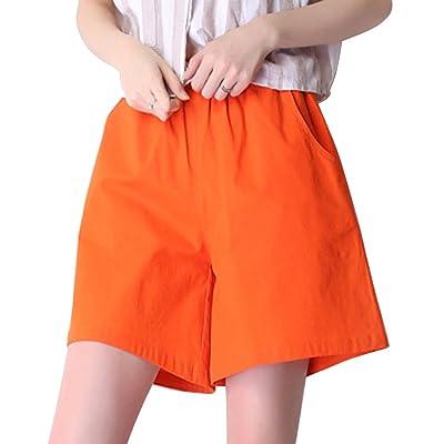 563ad2c6cb2ba OCHENTA Bermuda Lin Femme Shorts Loose Cordon de serrage Orange Etiquette  asiatique 2XL
