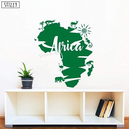 zhuziji Tatuajes de Pared África Mapa Animal Vinilo Etiqueta de la ...