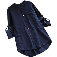 Macondoo Womens Long Sleeve Hi-Lo Classic Cotton Linen Button Down Shirts