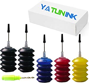 YATUNINK Premium Refill Ink Kit Replacement for HP 65XL Ink Cartridges for HP Envy 5055 Envy 5055 Envy 5058 DeskJet 3755 DeskJet 2655 3720 3722 3723 3730 3732 3752 3758 DeskJet 2624 Printer (5x30ML)