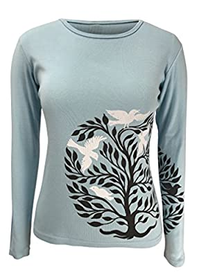 Green 3 Tree Of Life Long Sleeve Tee (Light Blue) - 100% Organic Cotton Womens T Shirt, Made In The USA