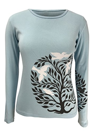 Green 3 Tree of Life Long Sleeve Tee (Light Blue) - 100% Organic Cotton Womens T Shirt, Made in The USA (XX-Large) ()
