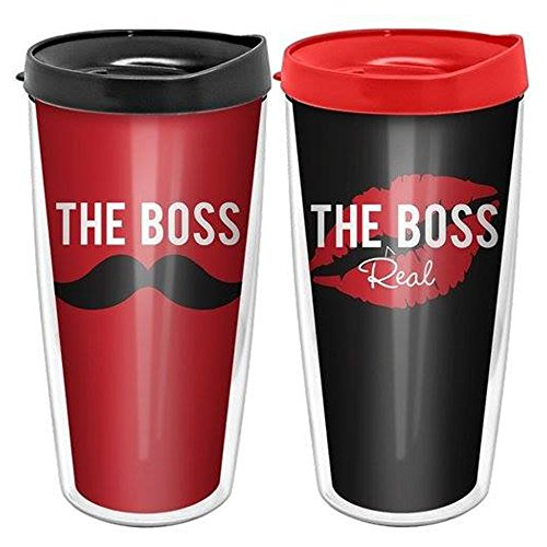 The Boss and The Real Boss Coffee Travel Tumbler 16 oz - Set of 2