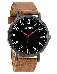 Ferenzi Men's | Minimalist Casual Black Watch With Brown Soft PU Leather Strap | FZ17103
