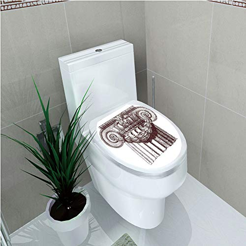 - Toilet Sticker 3D Print Design,Ancient Decor,Classical Antique Column Roman Empire Architecture Heritage Culture Print,Bur dy White,for Young Mens,W11.8