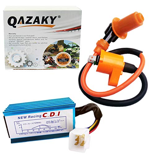 QAZAKY Performance Racing Ignition Coil + 5 Pins CDI GY6 4-Stroke Engine 50cc - 90cc 110cc 125cc 150cc XR50 CRF50 Scooter ATV Go Kart Moped Quad Pit Dirt Bike 139QMB 152QMI 157QMJ QMI157 QMJ152