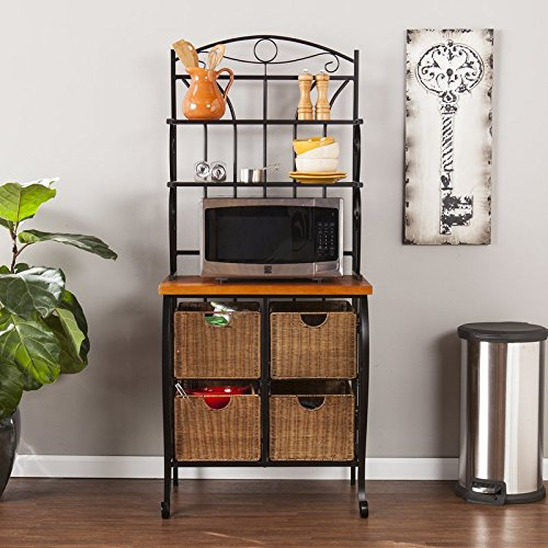 4 Tier Lineage Storage Bakers Rack, 4 Brown Wicker Baskets with Steel Wire Frame, 3 Exterior Shelves, Steel Frame, Hand Painted Metal