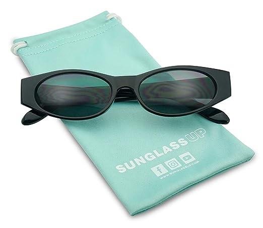 84f1a15a19c Amazon.com  90 s Super Retro Small Narrow Oval Horn Rimmed Rectangular  Sunglasses (Black Frame