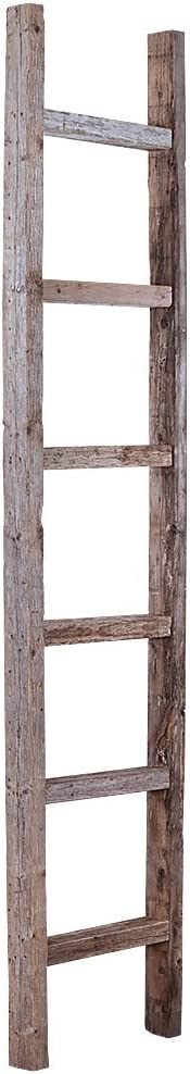 BarnwoodUSA Rustic 6 Ft Decorative Ladder Shelf - 100% Reclaimed Wood, Weathered Gray