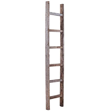 BarnwoodUSA Rustic 6 Ft Decorative Ladder Shelf