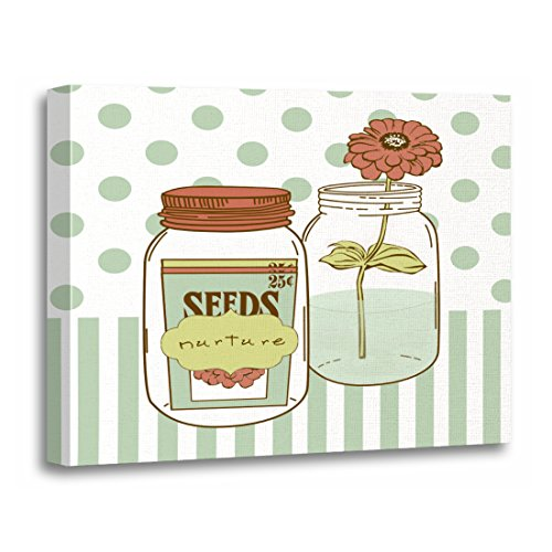 Pink Vintage Nurture Mason Jar and Green Shabby Artwork