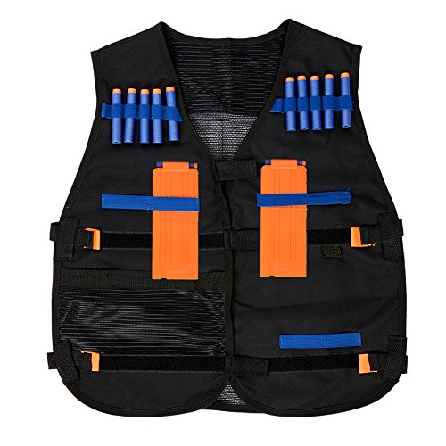 Pinksee Kid's Adjustable Tactical Vest with Storage Pockets for Nerf N-Strike Elite Team Toy (Black)