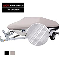 North Captain 100% Waterproof 600D Polyester Trailerable Boat Cover Fits V-Hull Tri-Hull Fishing Ski Pro-Style Bass Boats