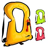 X-Lounger Inflatable Snorkeling Vest, Snorkel Vest Life Jacket Free Diving Swimming surfing Safety for adults Youth Orange