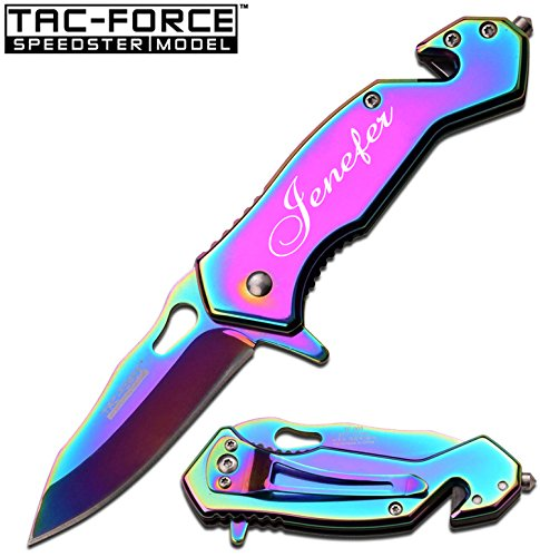 Free Engraving - Tac-Force Survival Knife: 3 in 1 Tactical Spring Assisted Pocket Knife, Seat belt Cutter, Razor Sharp Stainless Steel Folding Knife and Window Breaker- Black Pocket Knife …