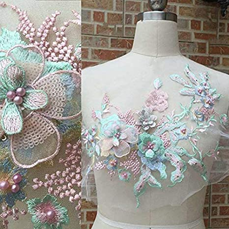 White Teal Green Flower Lace Embroidery Bridal Pearl Applique 3D Wedding Motif!