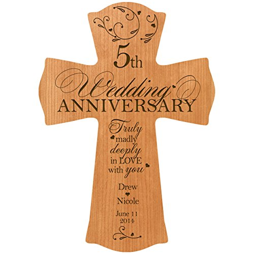 - LifeSong Milestones Personalized 5th Wedding Anniversary Wood Wall Cross Gift for Couple 5 Year for Her, for Him Truly Madly Deeply in Love with You (8.5
