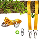 JINMURY Tree Swing Straps Hanging Kit- 2 x 5ft Adjustable Hammock Straps Holds 2000lbs with Heavy Duty Carabiners Storage Drawstring Bag Perfect Outdoor Swing Hammocks (Yellow)