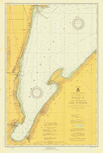 Map - Keweenaw Bay Including Lanse And Portage Entry Lake Superior, 1924 Nautical NOAA Chart - Michigan (MI) - Vintage Wall Art - 44in x 66in (Depth Chart Superior Lake)