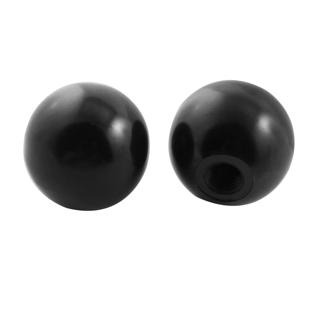 2Pcs M10x35mm Thread Round Plastic 35mm Diameter Ball Lever Knob Black