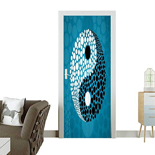 Homesonne 3D Photo Door Murals Dots Abstract Water and Pebbles Ying Yang Asian Zen Meditati Theme Easy to Clean and applyW32 x H80 INCH (Ying Yang Animated)