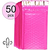 Designer Hot Pink Bubble Mailers (4x8 Inch) | Professional Poly Padded Shipping Envelopes (50 Pack, Size #000) | Thicker Material for Added Privacy