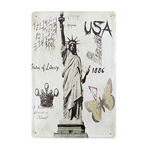 12x8 Inches Pub,bar,home Wall Decor Souvenir Hanging Metal Tin Sign Plate Plaque (USA Statue of Liberty)