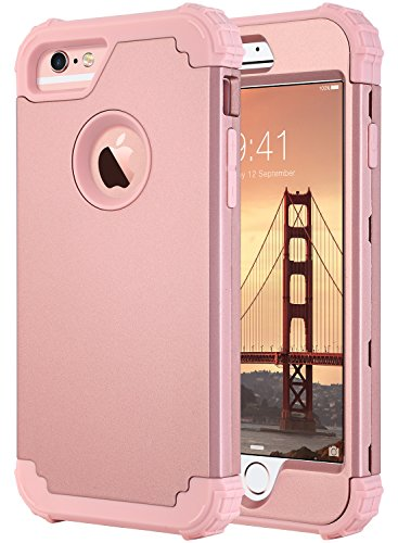 Anti Slip Cover Protective (ULAK Case for iPhone 6S Plus/iPhone 6 Plus, Heavy Duty Protection Hybrid Soft Silicone Hard PC Rugged Bumper Shockproof Anti Slip Protective Cover for iPhone 6 Plus/6s Plus, Rose Gold)