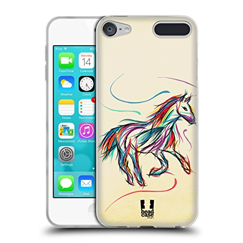 Head Case Designs Horse Colourful Animal Scribbles Soft Gel Case for Apple iPod Touch 6G 6th Gen - Horse Colourful