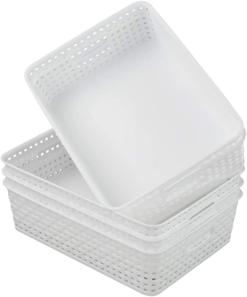 Sosody Plastic A4 Office Storage Baskets Desk Trays Countertop Organizer, White, 5 Packs