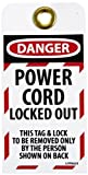 NMC LOTAG23''DANGER - POWER CORD LOCKED OUT'' Lockout Tag, Unrippable Vinyl, 3'' Length, 6'' Height, Black/Red on White (Pack of 10)