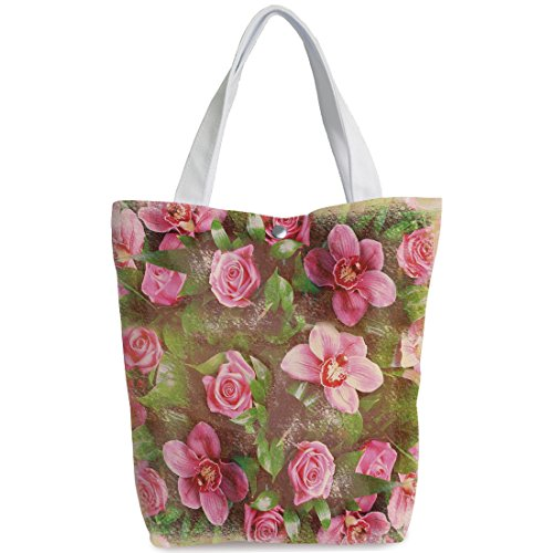 AngelDOU Unique Durable Canvas Tote Bag,Shabby Chic Decor,Romantic Retro Floral Composition Grunge Wedding Corsage Art,Green Pink Light Pink,Canvas Shopping bag,shoulder handbags,Shoulder Bag (Purse Corsage Pinks)