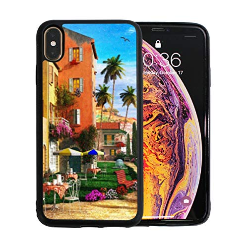 Phone case Mediterranean Terrace Compatible with iPhone Xs Max 6.5'' Full Body Protection Shockproof Cover Case Drop Protection Case ()