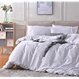 Fire Kirin Queen Duvet Cover Set with Zipper Closure 3Pcs (1 Duvet Cover + 2 Pillowcases) Modern Mini Black and White Grid Checkered Pattern Bedding Cover Set