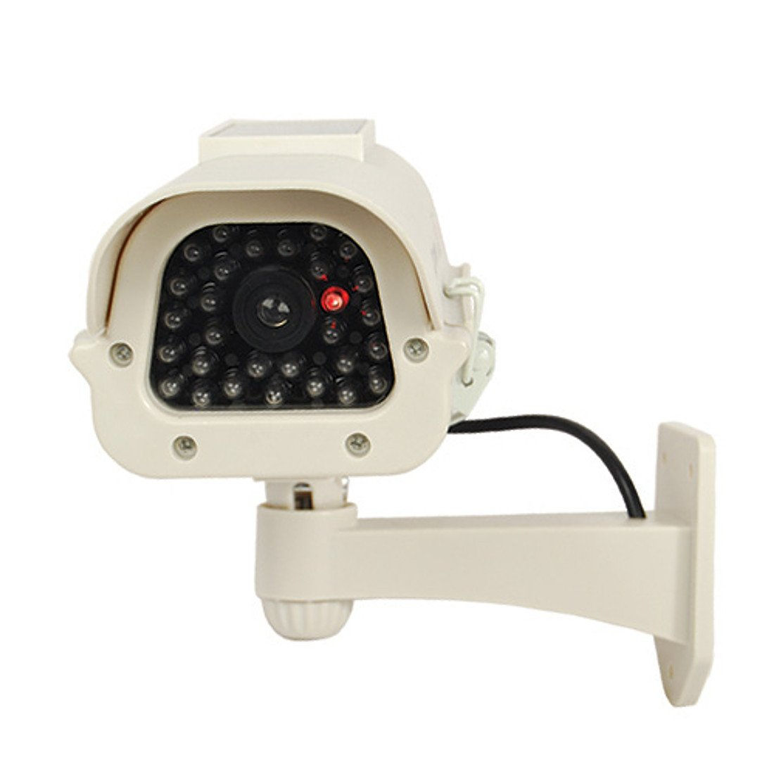 Fake Security Camera, Best Outdoor Security Camera System, Features Dummy Security Camera, Solar Powered & LED Light, Includes 2 Rechargeable AA Batteries, Satisfaction Guarantee (Off-White).