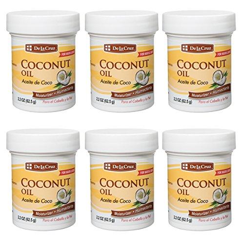De La Cruz Coconut Oil, No Parabens or Artificial Colors, Packed in USA 2.2 OZ. (6 Jars)