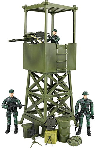 Click N' Play Military Lookout Watch Tower 16 Piece Play Set with Accessories. by Click N' Play