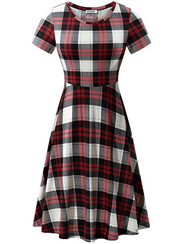 HUHOT Cute Dresses, Short Sleeves Plaid Casual A Line Shirt-Dress Red and White(Flower-6,Large)