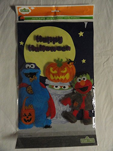 Sesame Street Cookie Monster and Elmo Halloween 3d Window Clings 3 D Stickers Elmo