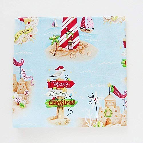 Merry Beach Christmas Cotton Napkins (Set of 4) ME2Designs Handmade Table Decor