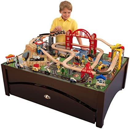 WOODEN TRAIN SET WITH TABLE 100 Accessories City Childs Kids Play NEW
