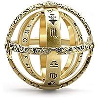 Esfera astronómica bola anillo, símbolo de la letra talla anillo de dedo cósmico pareja amor joyas regalos colección