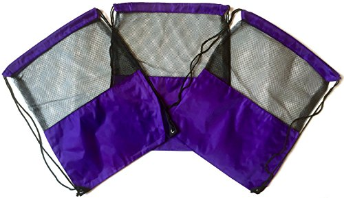 3 Pack PURPLE MESH Nylon Drawstring Sackpack Cinch Gym Bag - Variety of Colors!