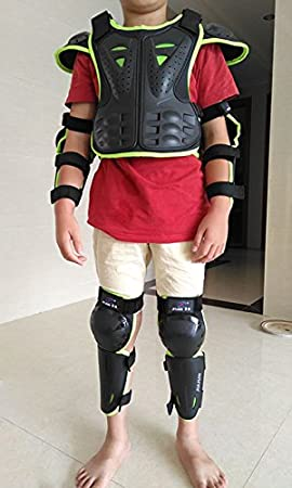 Green S WINGOFFLY Kids Chest Spine Protector Body Armor Vest Protective Gear for Dirt Bike Motocross Snowboarding Skiing