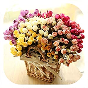 Memoirs- Artificial Rose Flower Silk European Style Bouquet Fake Flowers Small Bud Roses Bract Simulation Wedding Home Party Decoration 8