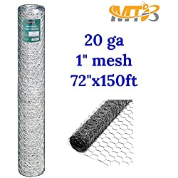 "Galvanized Hexagonal Poultry Netting, Chicken Wire 72""x150'- 1"" 20GA (also sold in 25' / 50' length)"
