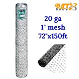 Galvanized Hexagonal Poultry Netting, Chicken Wire 72''x150'- 1'' 20GA (also sold in 25' / 50' length)