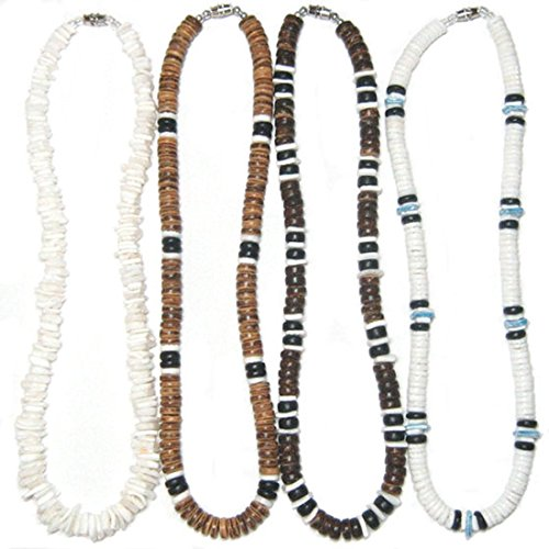 Native Treasure - 18 inch Mens Set of 4 Necklaces, White Rose Clam Puka Chip and Heishe Shells, Brown Black Wood Coco Beads, Durable Line, Authentic Tropical Jewelry, Surfer - Round Necklace Lock