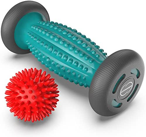 Foot Massager Roller + Ball for plantar fasciitis - Total Relief for Heel Spurs & Foot Arch Pain - Acupressure Reflexology Tool for Relaxation & Stress Relief - Trigger Point Healing with Spiky Ball