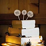 Pixnor Wooden Round Mr Mrs Shabby Chic Rustic Wedding Cake Topper Pick Decoration